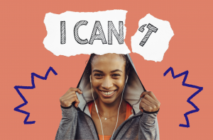 Black woman with headphones and 'I can (t)' image above. Can you Learn to be Confident?